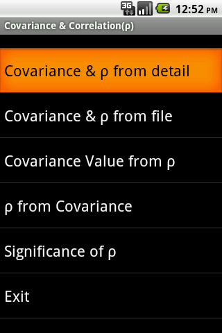 Covariance Correlation Android App