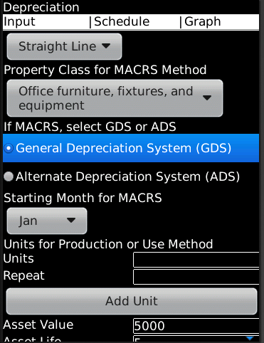 Depreciation BlackBerry App