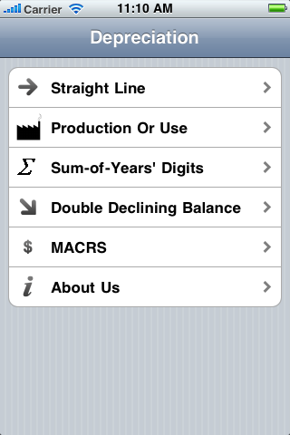 Depreciation iOS App
