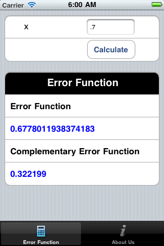 Error Function iOS app