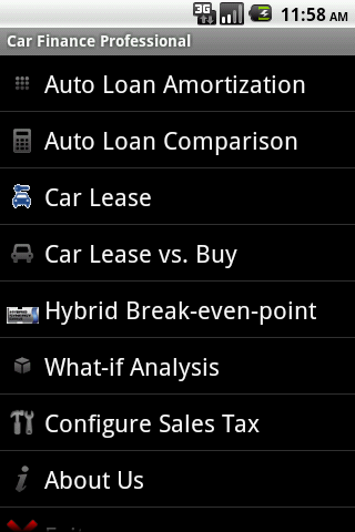 Car Finance Android App Screen