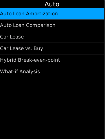 Car Finance BlackBerry App Screen